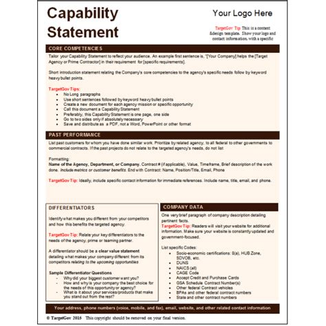 Capabilities Statement Template capability statement template exles of our work