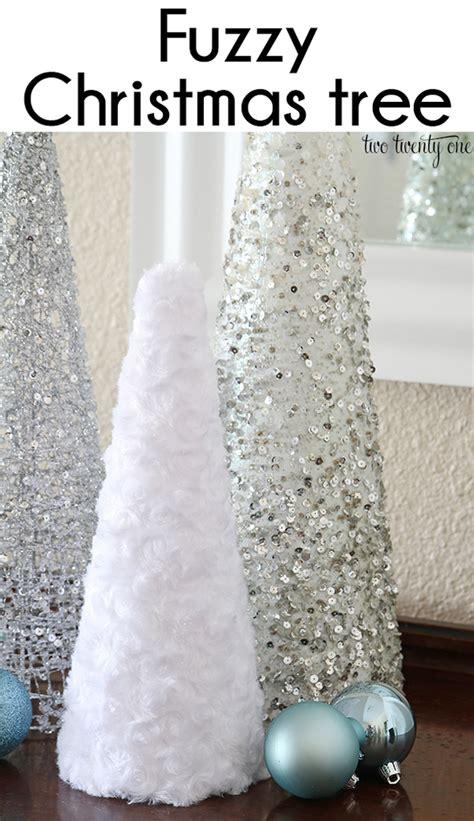 white furry fluffy christmas trees fuzzy tree