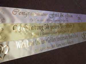 wedding banner 50th golden wedding anniversary personalised banner