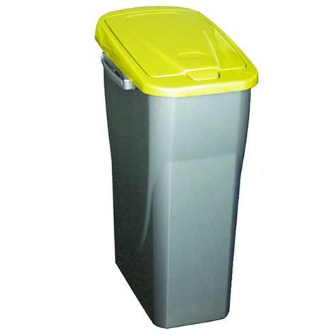 poubelle tri cuisine poubelle de tri sélectif 25 litres gris métal avec couvercle jaune