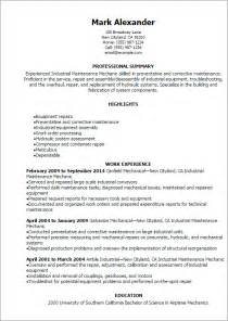 resume for maintenance mechanic professional industrial maintenance mechanic resume templates to showcase your talent