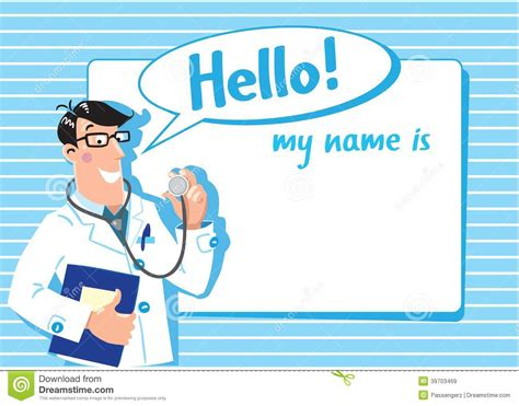 dr name tag template family doctor design template stock vector image 39703469