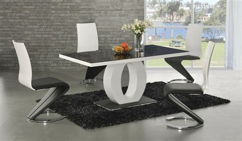 Black And White Dining Table Set by Contemporary Modern Black And White High Gloss Dining Set