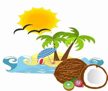 Beach Sun Coconut Clip Clipart Clker Vector