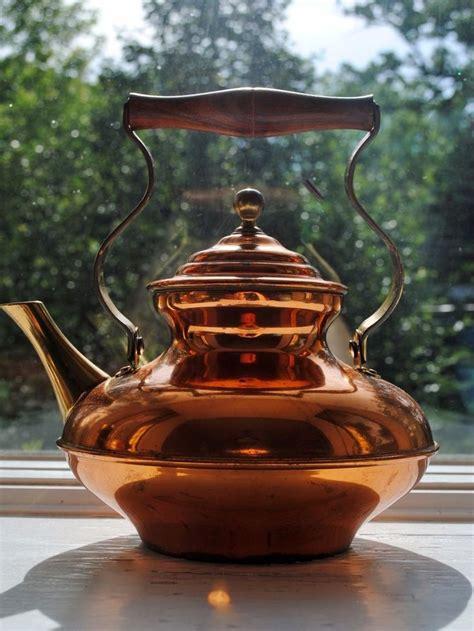 vintage italian bongusto copper tea pot brass spout rosewood handle tea pots tea copper tea