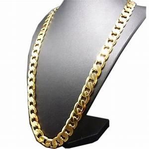 Bijoux hommes plaque or 24 carats chaine de collier de for Bijoux homme or