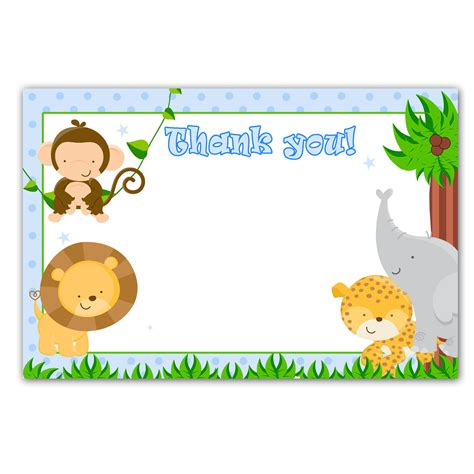 animal thank you card template printable jungle animals white blank thank you card baby