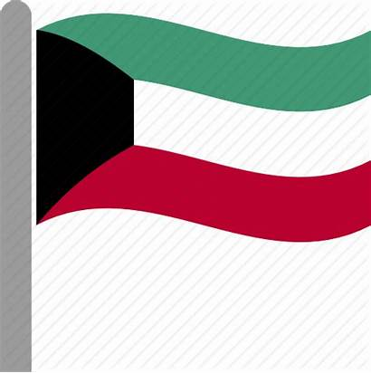 Kuwait Flag Waving Country Pole Kuwaiti Icon