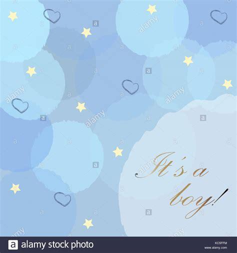 Baby Geburt Ansage Mit Blauen Blasen, Sterne Und Herzen