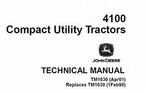 John Deere 4100 Compact Utility Tractors Technical Manual