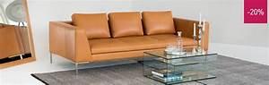 montino canape 3 places en cuir vintage aniline marron With tapis de course pas cher avec canape habitat 3 places