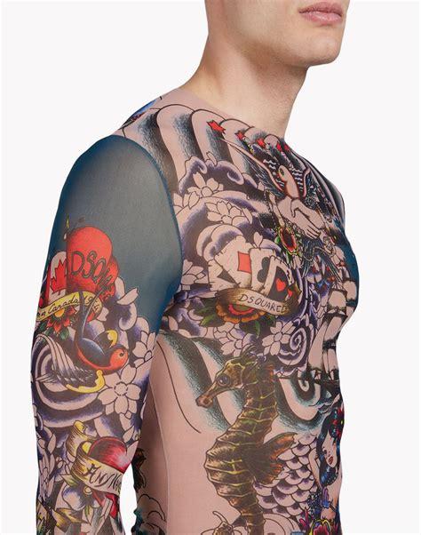 Dsquared2 Tattoo Long Sleeve Black  T Shirts For Men