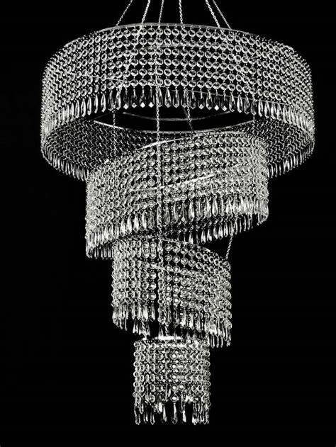large  tier acrylic crystal tilted chandelier clear