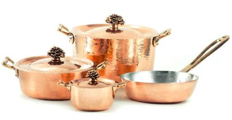sale amoretti brothers hammered copper cookware  piece set bronze handles  cookware