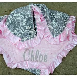 Dynasty Baby Blanket-Grey Dynasty Pink Minky Swirl-Satin ...