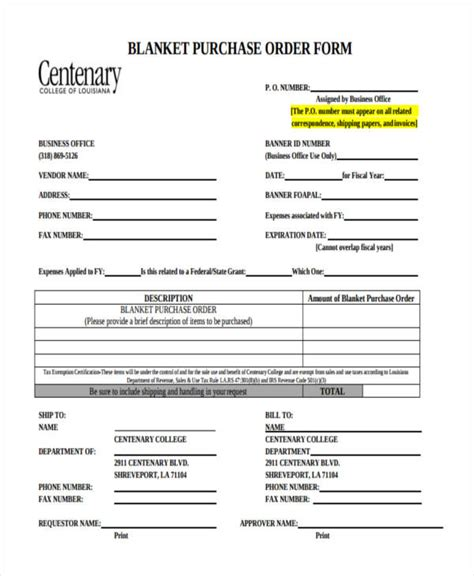 purchase order forms  samples examples formats