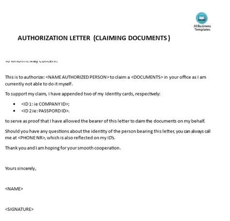 samples  authorization letters  claim