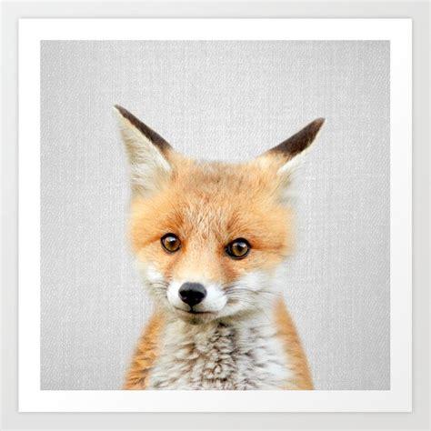 baby fox colorful art print  galdesign society