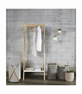 Panier à Linge Bambou : panier linge tissu gris et structure en bambou ~ Dailycaller-alerts.com Idées de Décoration
