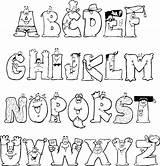 Alphabet Fonts Coloring Letters Letter Lettering sketch template