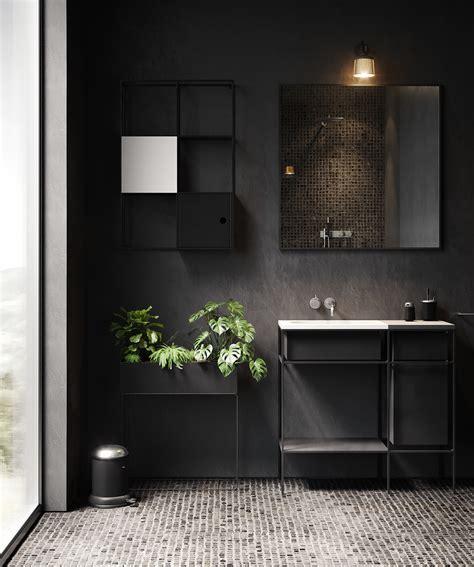 black bathroom cgi  behance