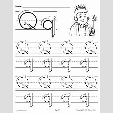 Free Printable Letter Q Tracing Worksheet With Number And Arrow Guides Supplyme