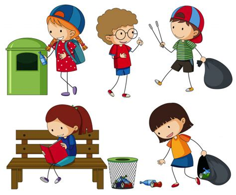 Kids Cleaning Up The Trash Vector  Free Download