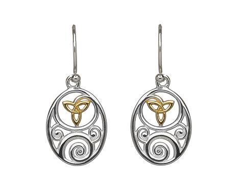 sterling silver oval celtic design lever  earrings