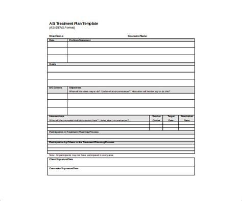 Treatment Plan Template Treatment Plan