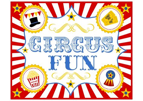 Circus Signs Template by Free Circus Birthday Printables Catch My