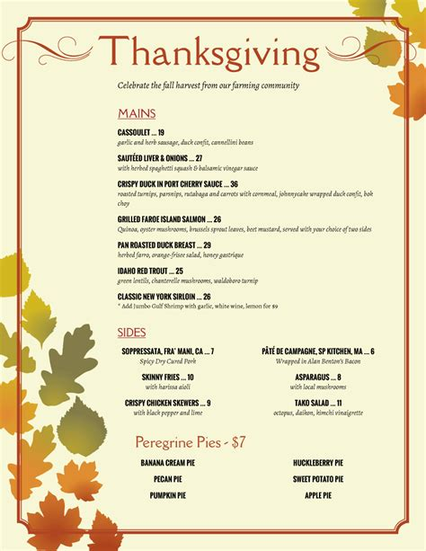 menu for thanksgiving sle thanksgiving menu benh daday s halloween site