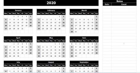 yearly calendar mon start notes excel template