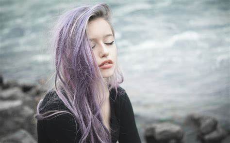 Women Dyed Hair Purple Hair Closed Eyes Wallpapers Hd