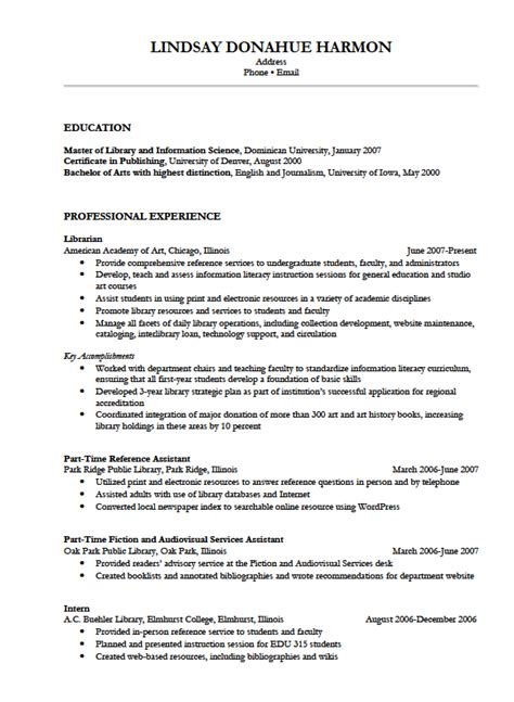 resume exle best librarian resume sle
