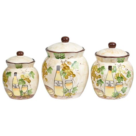 Canister Sets Ceramic by White Grape Ceramic 3 Deluxe Canister Set