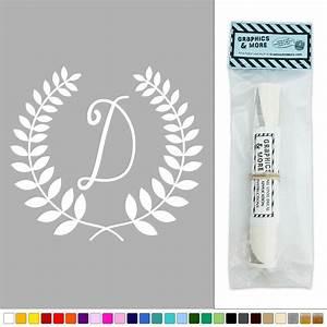 letter d monogram calligraphy laurel wreath vinyl sticker With letter d stickers