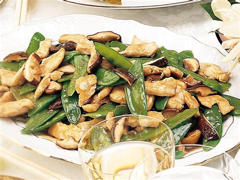 chicken  shiitake mushrooms  snow peas cookstrcom