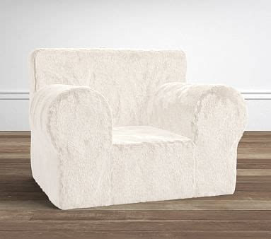 ruffle anywhere chair slipcover only ivory faux fur oversized anywhere chair pottery barn