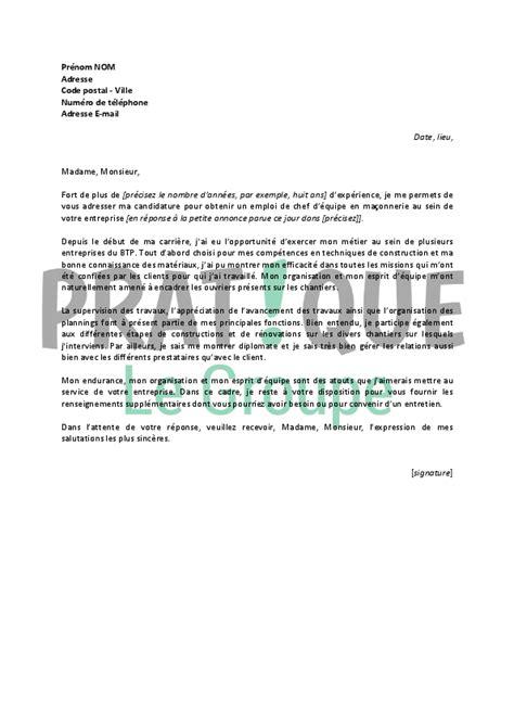 lettre de motivation pour un emploi de chef d 233 quipe en ma 231 onnerie confirm 233 pratique fr