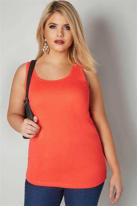 Orange Baumwolle Unterhemd, In Großen Größen 4464
