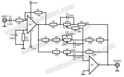 3 band audio equalizer circuit schematic electronic project circuit diy electronics e