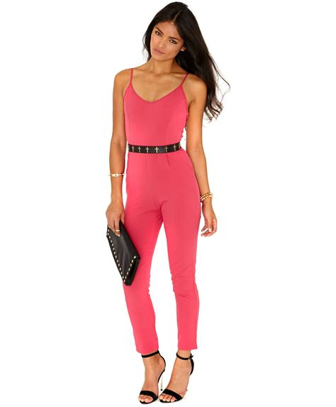 pink jumpsuits missguided drina cage back jumpsuit in pink in pink lyst
