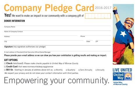 pledge card united way pledge card united way county