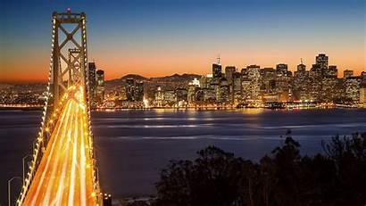Francisco San Bridge Night Trails Building Wallpapers