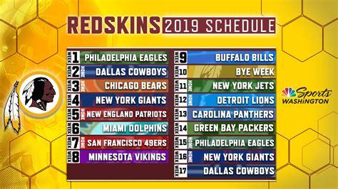 redskins release official  regular season schedule