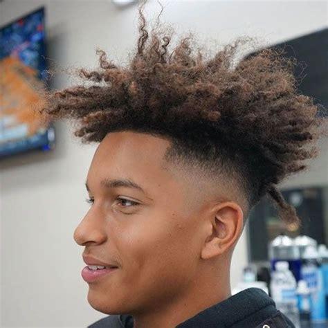 men  long hair  black men haircuts pinterest high top fade long curly  curly