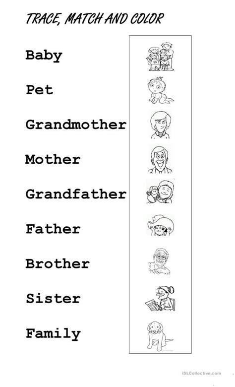 trace family members worksheet  esl printable