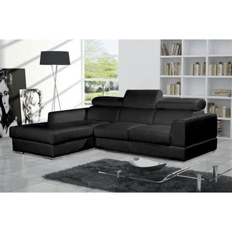 canapé d 39 angle moderne neto noir cuir pas cher achat