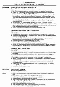 Technical Services Specialist Resume Samples