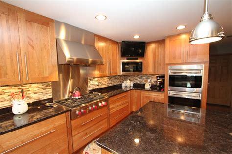 natural cherry cabinets  granite countertops